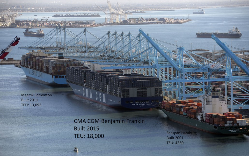 The largest container ship to ever make port in North America, center, unloads its cargo in the Port of Los Angeles in San Pedro, CA on Saturday, December 26, 2015. After making its maiden voyage from China, where it was built, the CMA CGM Benjamin Franklin arrived before dawn with its cargo. The ship can carry 18,000 twenty-foot equivalent units (TEUs), which is about a third more than the ships that currently dock in the Port of L.A. The vessel measures 1,300 feet long, 177 feet wide and is 197 feet tall and is staffed with a crew of 26. The giant ship is scheduled to leave Los Angeles on Wednesday, December 30 en route to Oakland before returning to China. (Photo by Scott Varley, Daily Breeze)