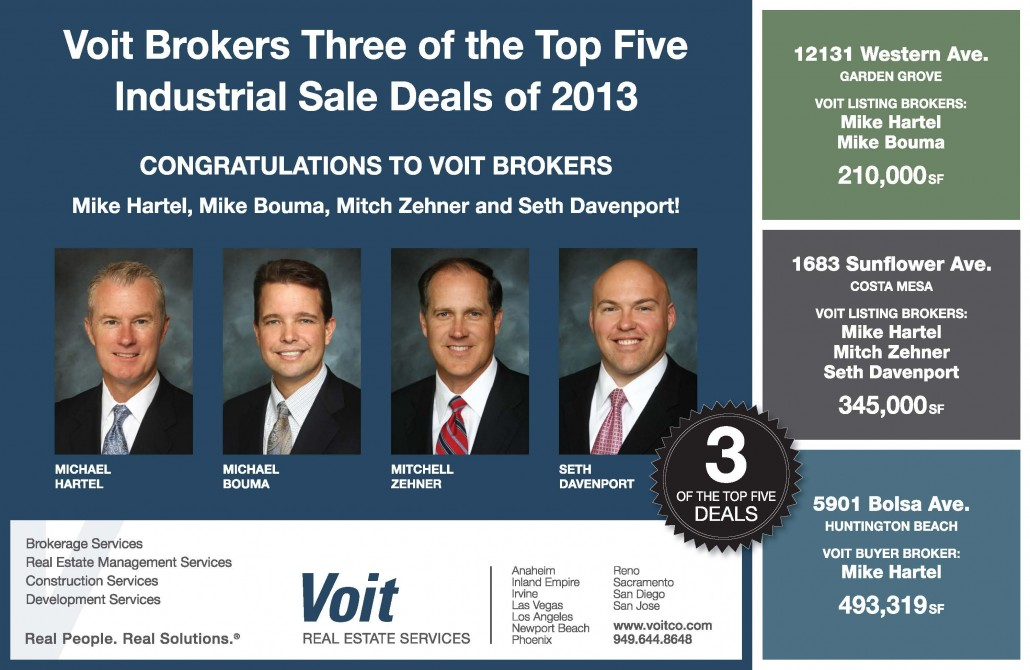 Bouma caputo voit brokers three of the top five industrial sale deals of 2013 for Southland industries garden grove